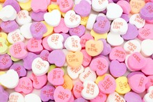 Full Background Of Valentines Day Candy Hearts
