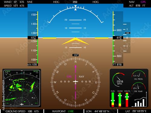 Fotografie, Obraz  Airplane glass cockpit display