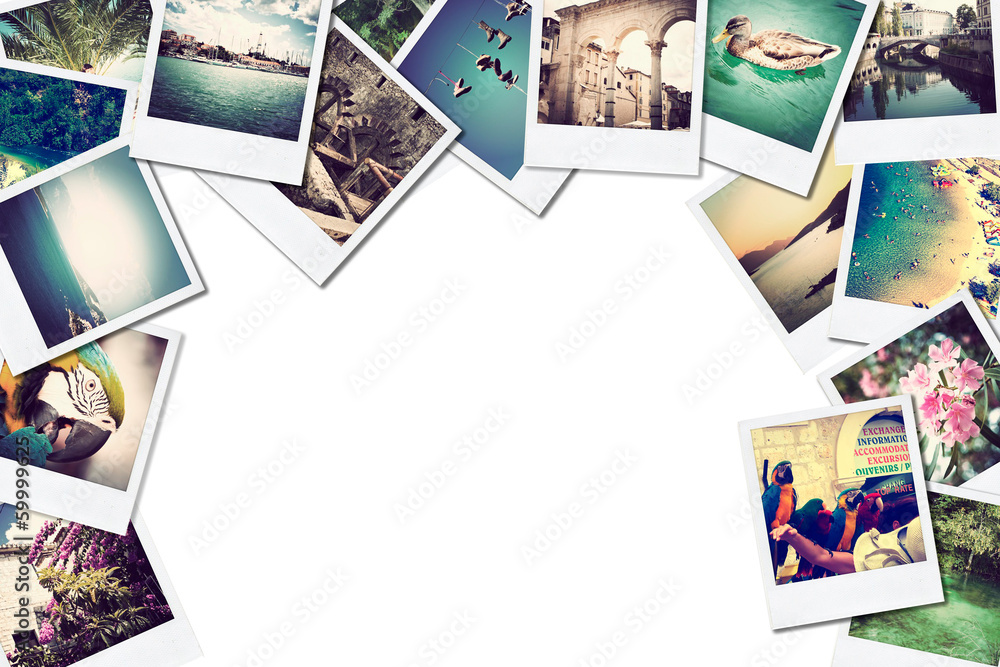 Fototapety, obrazy: A pile of photographs with space for your logo or text.