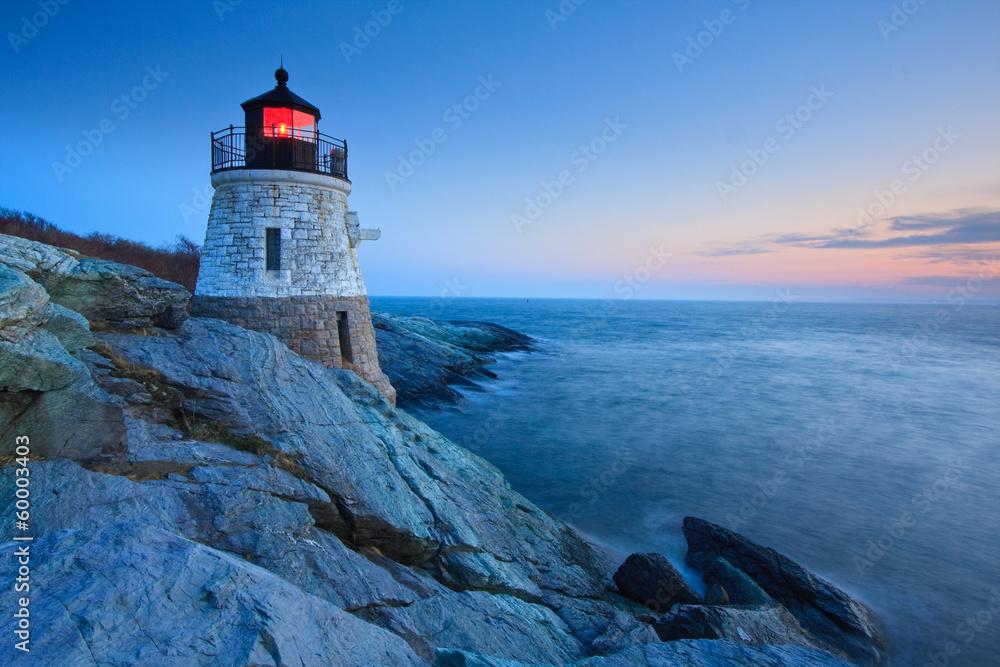 Fototapeta Castle Hill Lighthouse at dusk