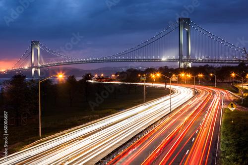 Photo  Verrazano Narrows Bridge and the Belt Parkway traffic