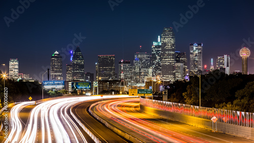 Acrylic Prints Night highway Dallas skyline by night
