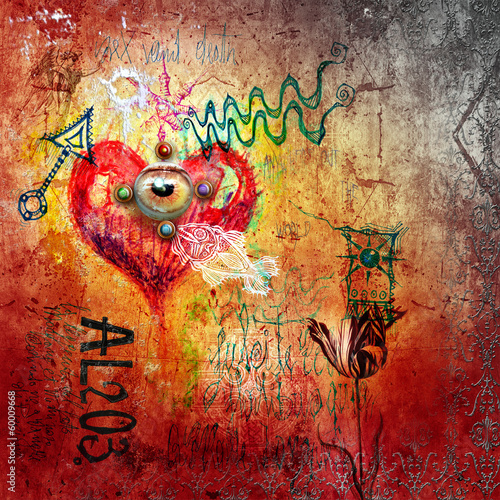 Garden Poster Imagination Graffiti with red heart