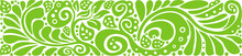 Horizontal Floral Pattern. Green Swirled Leaves, Abstract Pattern. Colorful Vector Illustration