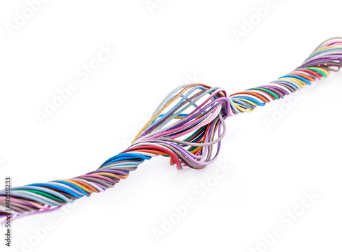 Fotomural Multicolored cable isolated on white background