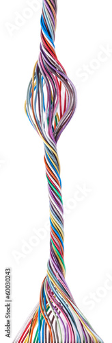 Fotografía  Multicolored cable isolated on white background