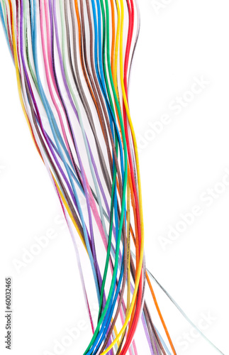 Cuadros en Lienzo  Multicolored cable isolated on white background