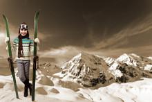 Ski, Winter Vacation - Girl With Retro Ski Equipment