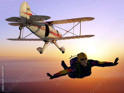Printed kitchen splashbacks Purple Parashutist and Plane