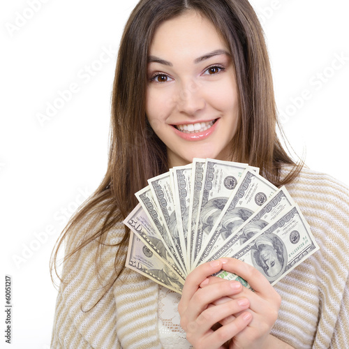 Fotografía  Cheerful attractive young lady holding cash and happy smiling