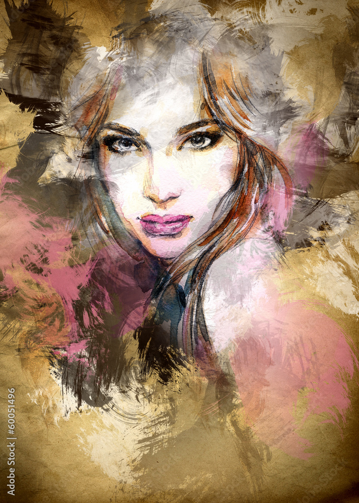 Fototapeta Beautiful woman face. watercolor illustration