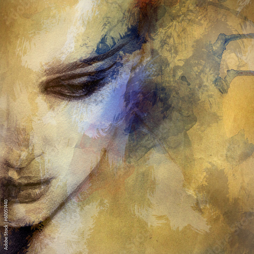 Photo  Beautiful woman face. watercolor illustration