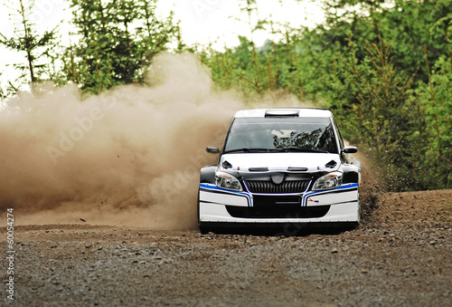 Fotobehang Motorsport Rally car in action - škoda fabia S2000