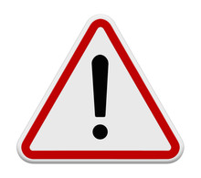 Red Exclamation Sign - Danger Triangle Road Sign Isolated On Whi