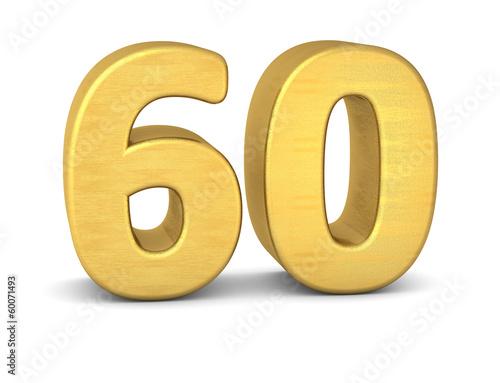 Photographie  zahl cipher 60 gold vertikal