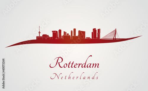 Staande foto Rotterdam Rotterdam skyline in red