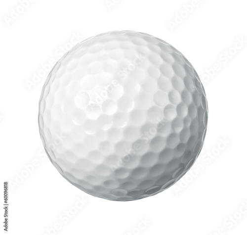 Canvastavla Close up of a golf ball isolated on white background