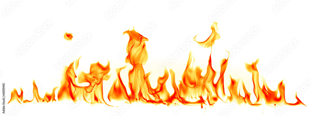 Fototapeta Fire flames isolated on white background