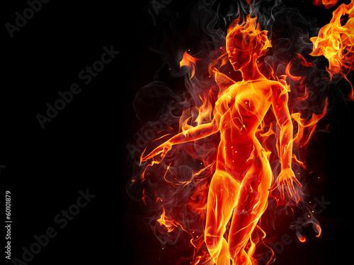Keuken foto achterwand Vlam Dancing fire girl