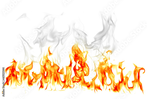 In de dag Vuur Fire and smoke isolated on white background