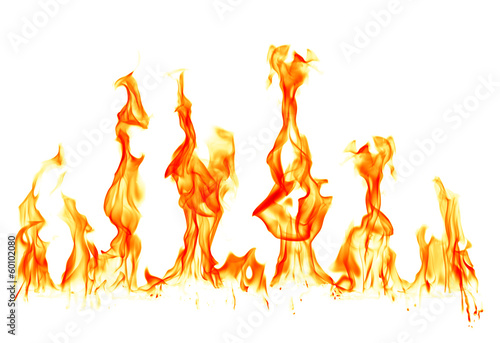 In de dag Vuur Fire flames isolated on white background