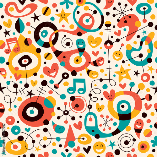 fun cartoon pattern Canvas
