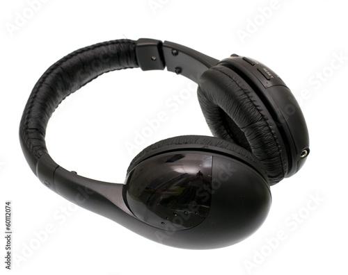 Stampa su Tela  black headphones isolated on white background