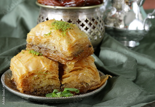 Turkish arabic dessert baklava with honey and nuts Canvas Print