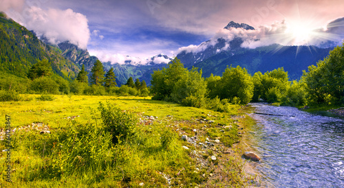 Foto op Plexiglas Purper Fantastic landscape with a blue river in the mountains