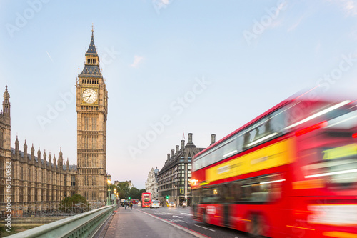 Poster Londres bus rouge Big Ben and Red Double-Decker Bus