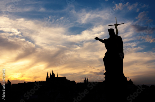 Canvas Print Charles bridge monument of John the Baptist