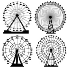 Set Of Silhouettes Ferris Wheel.