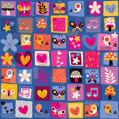 cute flowers, birds & hearts pattern