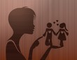 noble woman silhouette with partnership