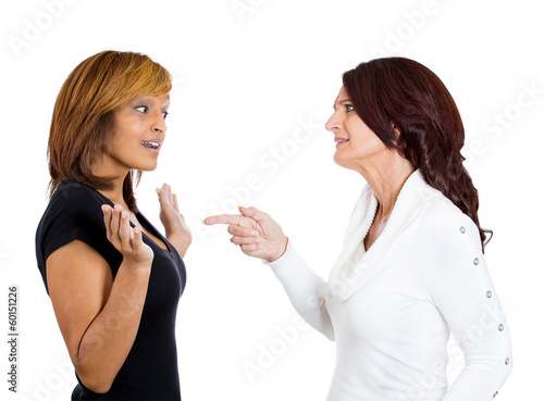 Two angry upset women having arguments frustrated Wallpaper Mural
