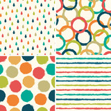 Seamless hipster backgrounds in retro colors
