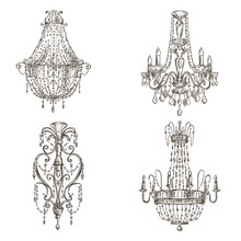 Set Of Four Chandelier Drawings Sketch Style