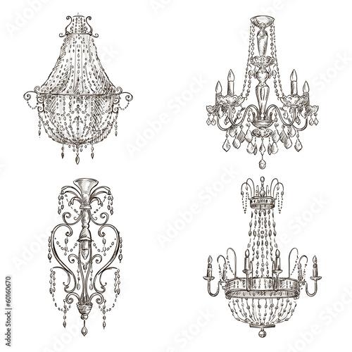 Cuadros en Lienzo set of four chandelier drawings sketch style