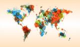 Grunge colorful world map