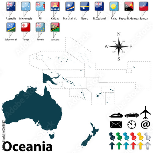 Canvas Print Political map of Oceania