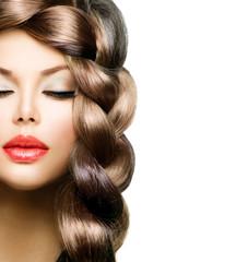 Fototapeta Do fryzjera Hair Braid. Beautiful Model Woman with Healthy Long Brown Hair