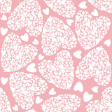 white seamless pattern in hearts