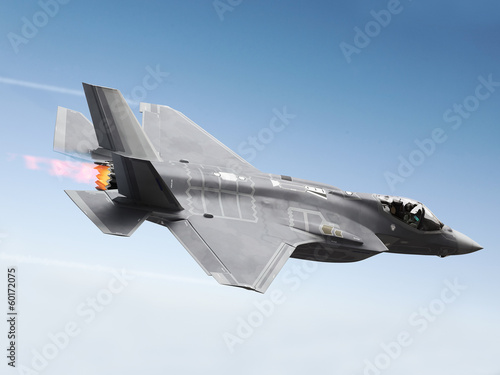 Leinwand Poster F-35 A Lightning at super sonic speeds