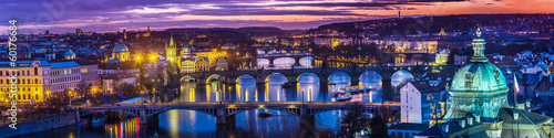 Bridges in Prague over the river at sunset Poster