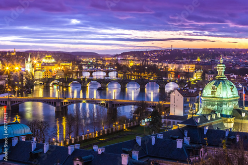 Staande foto Praag Bridges in Prague over the river at sunset