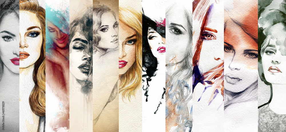 Fototapety, obrazy: Beautiful woman face. watercolor illustration