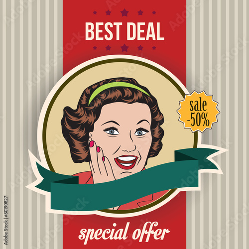 Poster  happy woman, commercial retro clipart illustration