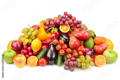 Poster Vruchten collection fruits and vegetables isolated on white background