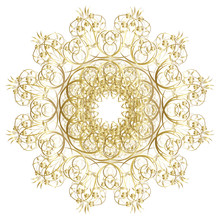 Decorative Gold  Frame With Vintage Round Patterns On White