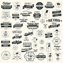 Set Of Vintage Retro Labels, Stamps, Ribbons, Marks, Vector